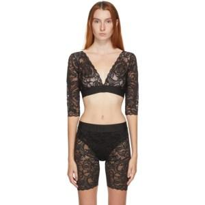 Versace Underwear Black Long Sleeve Lace Bra