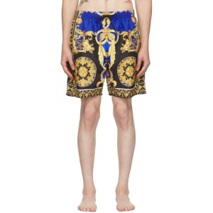 Versace Underwear Gold and Blue Le Pop Classique Swim Shorts