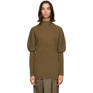 LOW CLASSIC Khaki Wool Asymmetric Sweater