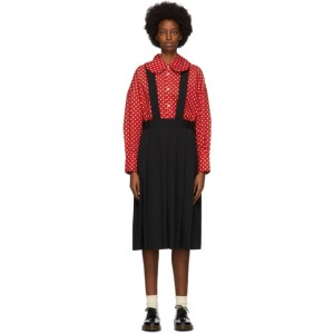 Comme des Garcons Girl Black Wool Suspender Midi Skirt