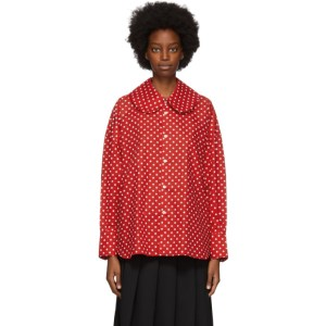 Comme des Garcons Girl Red Polka Dot Collar Shirt