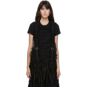 Noir Kei Ninomiya Black Tulle Vertical Belt T-Shirt