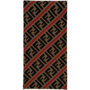 Fendi Red and Brown Wool Forever Fendi Scarf
