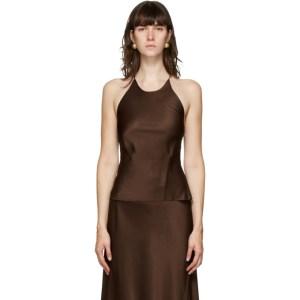 Rosetta Getty Brown Satin Camisole