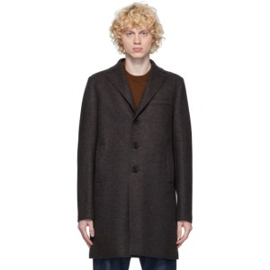 Harris Wharf London Brown and Blue Boxy Pressed Wool Coat