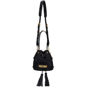 Moschino Black Logo Bucket Bag