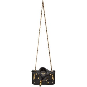 Moschino Black Small Biker Jacket Shoulder Bag