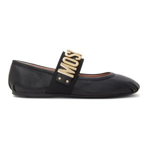 Moschino Black Leather Maxi Ballerina Flats