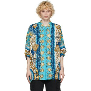 Moschino Blue Viscose Graphic Short Sleeve Shirt