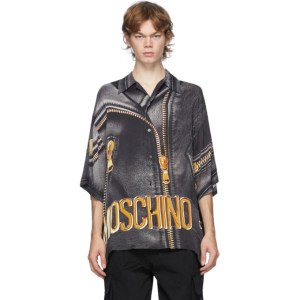 Moschino Black and Gold Leather Print Half-Sleeve Shirt