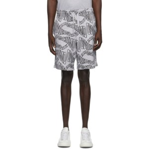 Moschino Grey Fantasy Print Logo Shorts