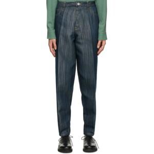 Issey Miyake Men Navy Flat Jeans