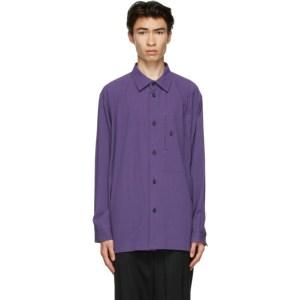 Issey Miyake Men Purple Cotton Drip Shirt