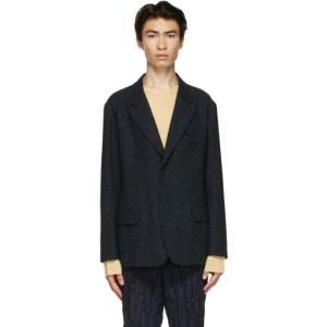 Issey Miyake Men Navy Tweed Blazer