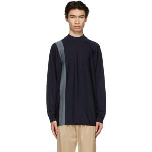 Issey Miyake Men Navy Wool Gauge High Sweater