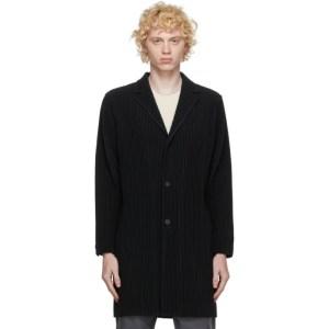Homme Plisse Issey Miyake Black Basic Long Coat