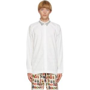 Homme Plisse Issey Miyake White and Silver Tuxedo Shirt