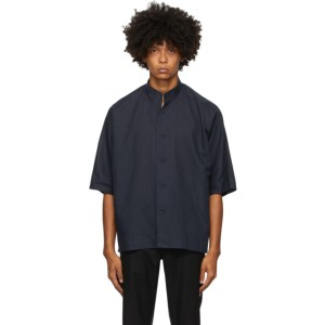Homme Plisse Issey Miyake Navy Linen and Cotton Short Sleeve Shirt