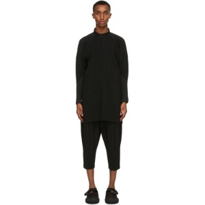 Homme Plisse Issey Miyake Black Monthly Colors August Collarless Shirt