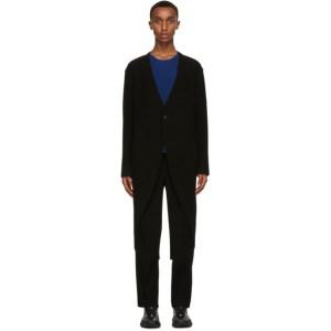 Homme Plisse Issey Miyake Black Long Tuxedo Pleats Blazer