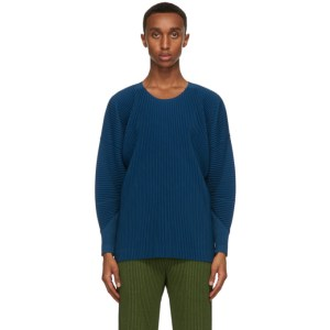 Homme Plisse Issey Miyake Blue Monthly Colors September Long Sleeve T-Shirt