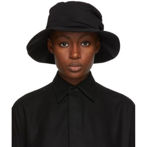 Ys Black Wool Gabardine Panel Hat