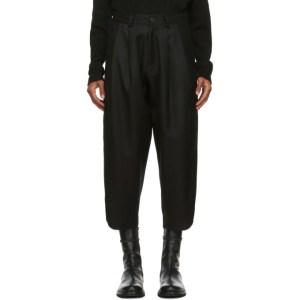 Isabel Benenato Black Wool Diagonal Oversized Trousers