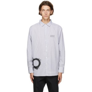 Isabel Benenato White and Black Stripe Graphic Print Oversized Shirt