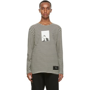 Isabel Benenato Black and Off-White Striped T-Shirt