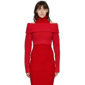 Sunnei Red Off-The-Shoulder Band Sweater