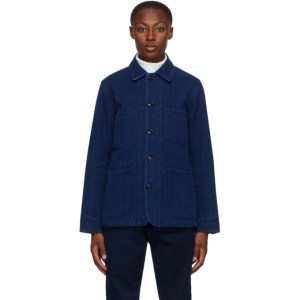 Blue Blue Japan Navy Washed Sashiko Coverall Jacket