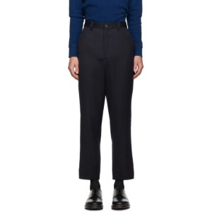 Blue Blue Japan Navy Wool Rainfall Stripe Trousers