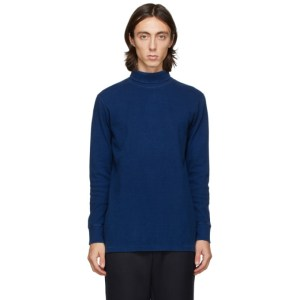 Blue Blue Japan Blue Hand-Dyed Rib Knit Turtleneck