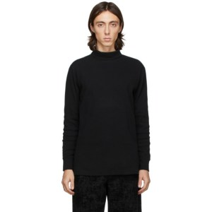 Blue Blue Japan Black Hand-Dyed Rib Knit Turtleneck