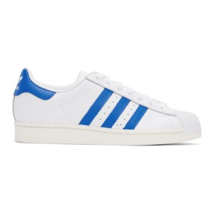 adidas Originals White and Blue Superstar Sneakers