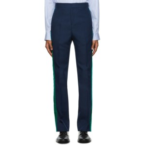 Wales Bonner Navy and Green Dub Trousers