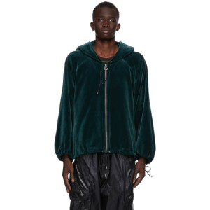 Telfar Green Velour Zip-Up Hoodie