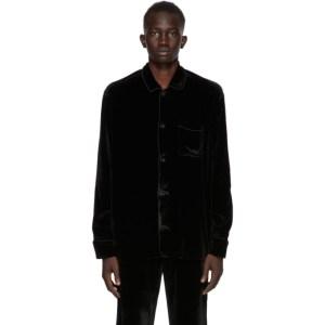 CMMN SWDN Black Crushed Velvet Jace Shirt