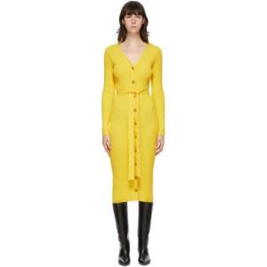 Maryam Nassir Zadeh Yellow Hyatt Cardigan Mid-Length Dress