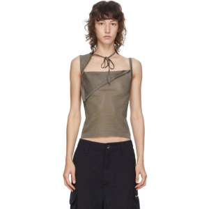 Maryam Nassir Zadeh SSENSE Exclusive Taupe Sheer Knit Tank Top