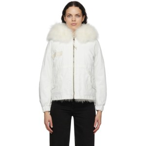 Mr and Mrs Italy White Fur Parka Jacket