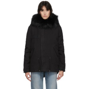Mr and Mrs Italy Black Mini Fur Army Parka