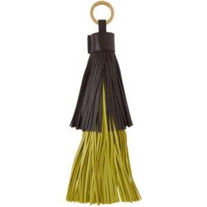Bottega Veneta Brown and Green Fringe Keychain