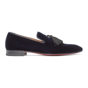 Christian Louboutin Navy Velvet Officialito Loafers
