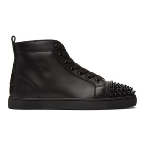 Christian Louboutin Black Lou Spikes High-Top Sneakers