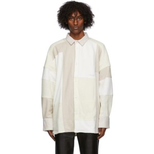 Ambush White Boucle Patchwork Oversized Jacket