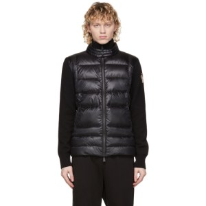 Moncler Grenoble Black Down Padded Cardigan Jacket