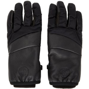 Stone Island Black Nylon Metal Gloves