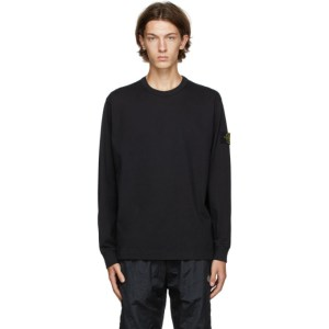 Stone Island Black Cotton Long Sleeve T-Shirt