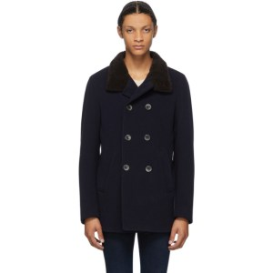 Herno Navy Herringbone Peacoat